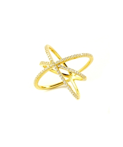 Three Xs Micro Pave CZ Gold Ring (COPY)