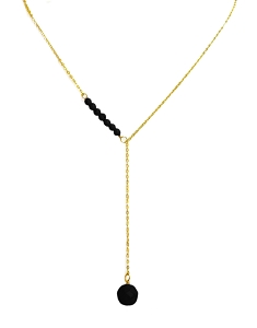 Mini Onyx Bead Sideway Y Necklace with Onyx Ball Pendant
