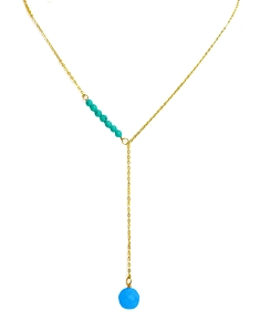 Mini Turquoise Bead Sideway Y Necklace with Turquoise Ball Pendant