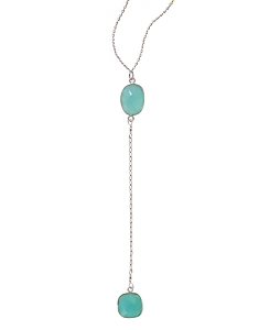 Y 2-Aqua Chalcedony Gemstones  Necklace