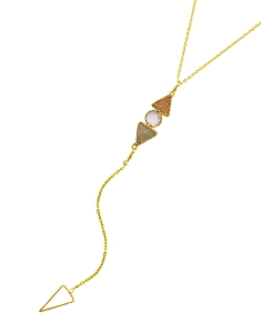3-Druzy Gemstones Y Necklace with Triangle Pendant