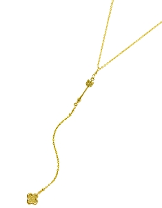Arrow Y Necklace with Clover Pendant