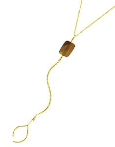 Y Necklace with Rectangle Tiger Eyes and Wish Bone Pendant