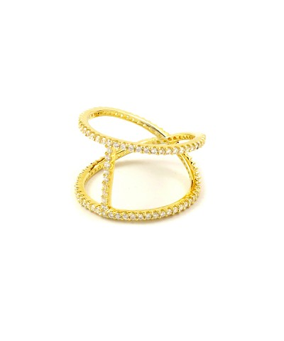 Center Bar X Micro Pave CZ Gold Ring