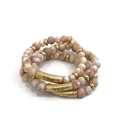 Love Stamped Natural Pink Gemstone Bead Bracelet