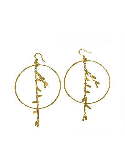 39d049249 Hoop with Flower Leaves Chain Earrings