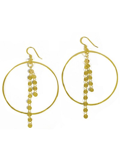 Hoop with Circle Disc Chain Earrings