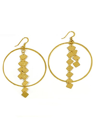 Hoop with Square Disc Chain Earrings