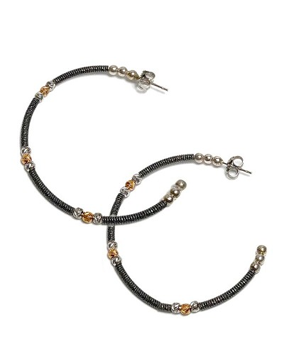 1452758a2 Italian Open Black Hoop with Gold & Silver Bead Earrings
