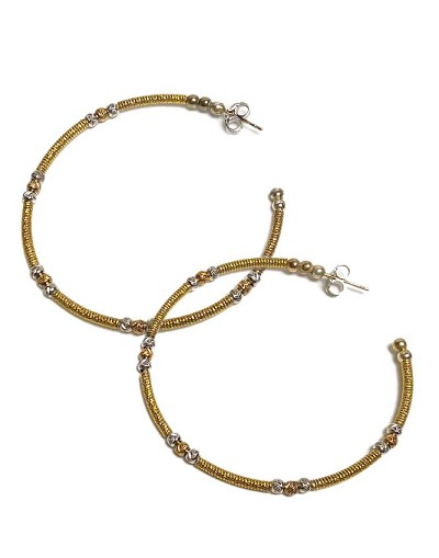 c404f2f88 Italian Open Gold Hoop with Gold & Silver Bead Earrings
