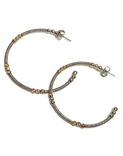 ff825ddfb Italian Open Sterling Silver Hoop with Gold & Silver Bead Earrings