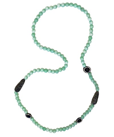 CZ PAVE Onyx with Aqua Beads Necklace