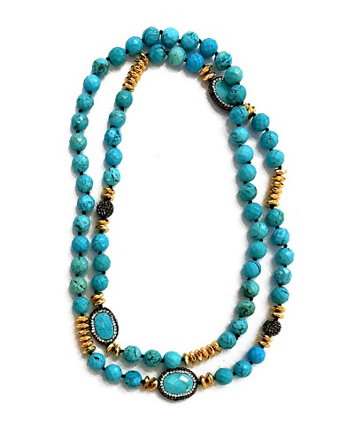CZ PAVE Turquoise Charms and Beads Necklace