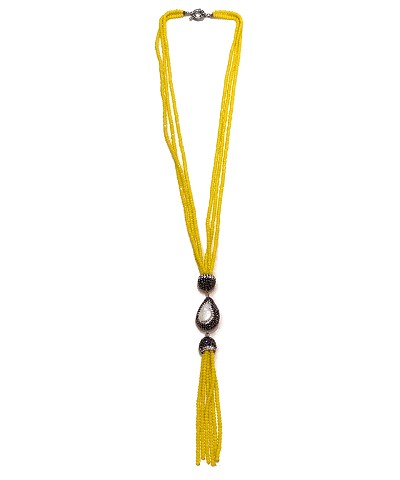 CZ PAVE Pearl Charms with Yellow Crystal Beads Tassel Necklace