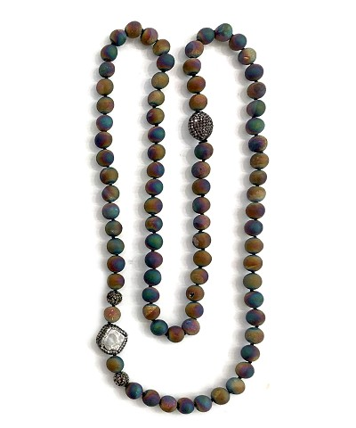 Titanium Rainbow Color Beads with CZ PAVE Pearl Necklace