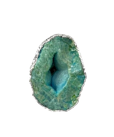 XXL Green Geode Druzy Cigar Ring