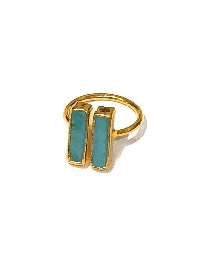 Double Gemstone Bar Ring